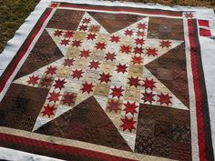This quilt is seriously amazing. Look at the quilting!  And, the selection of the brown fabrics in the background!