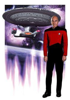 Jean-Luc Picard, Star Trek: The Next Generation print Star Trek 4, Star Trek Series, Star Trek Voyager, Star Trek Posters, Prime Directive, Lab, Star Trek Captains, Star Trek Universe, The Next