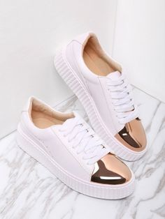 29d20f1b3431a SheIn offers White Contrast Round Toe Rubber Sole Sneakers   more to fit  your fashionable needs.