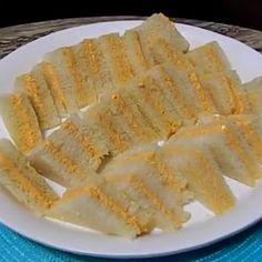 Sandwichitos de Mezcla/Puerto Rican Sandwich Appetizers***Jamon picado, cheese whiz y pimientos rojos***
