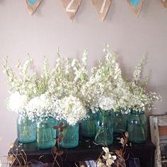 Mason jar decor, white flowers, rustic wedding, turquoise wedding