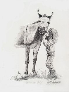 A Kiss For Dolly, drawing of a little girl giving a flower to a donkey, trying to get her to lean down so she can kiss her on Etsy, $40.00