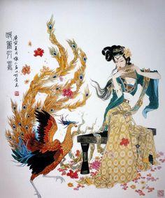 Pintura que retrata a mulher oriental tradicional.