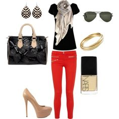 Red, Black and Nude...hotness!  created by taralarrick on Polyvore