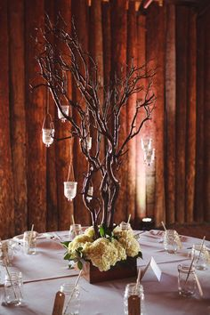Tree Branch Centerpieces With Hanging Votives - Manzanita Branch Centerpieces With Hanging Candles Tree Centrepiece Wedding, Manzanita Tree Centerpieces, Manzanita Branches, Floral Centerpieces, Centerpiece Ideas, Autumn Centerpieces, Tree Branches, Rustic Wedding Reception, Wedding Reception Centerpieces