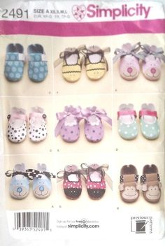 Simplicity Baby Shoes Pattern 2491 Factory Folded Uncut Several Styles Boys Girl #Simplicity
