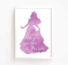 Sale 50% Off - Sleeping Beauty - Aurora - Watercolor Printable ( disney quote princess girls nursery baby room girl decor once upon a dream