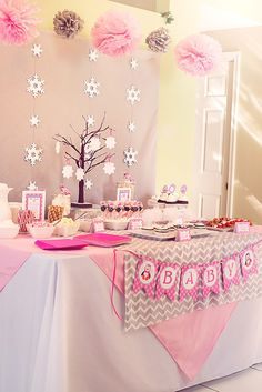 Winter Wonderland Pink Penguin Baby Shower