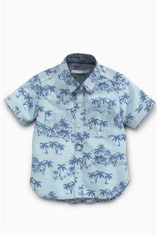 12e06ba42c8 No Retreat Boys Palm Trees Print Button Up Short Sleeve Pocket Woven Shirt