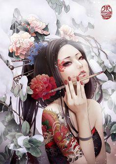 Geisha Painting Wallpaper for Geisha Kunst, Art Geisha, Art And Illustration, Fantasy Kunst, Fantasy Art, Tatoo Geisha, Wallpaper Für Desktop, Girl Wallpaper, Wallpaper Backgrounds