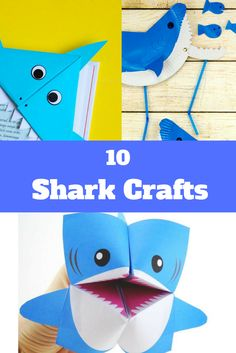 Our kids are captivated by sharks and to celebrate the upcoming Shark Week we have these fun shark crafts for kids for you to create together. Cute Kids Crafts, Toddler Crafts, Creative Crafts, Easy Crafts, Kid Crafts, Fun Games For Kids, Craft Activities For Kids, Diy For Kids, Shark Week Crafts