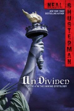 UnDivided by Neal Shusterman - Three teens band together in order to sway the government to repeal all rulings in support of a procedure in which unwanted teenagers are captured and are unwound into parts that can be reused for transplantation.