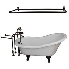 Barclay White Acrylic Oval Clawfoot Bathtub With Back Center Drain (Common: 30-In X 60-In; Actual: 31.0-In X 30.0-In X 6