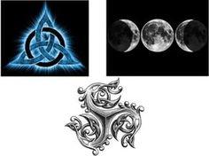 Triquetra, Triskle e Triluna   As três fases divinas da mulher: A Donzela, A Mãe e A Anciã, foram altamente cultuadas por esta civilização.  Também representam as três fases do ciclo da vida: nascer, viver e morrer e ainda os três mundos conhecidos: a terra, o céu e o mar. No ser humano representam o corpo, a mente e o espírito, bem como a interconexão e interpenetração dos níveis Físicos, Mental e Espiritual. Os Celtas consideravam o três como um número sagrado.