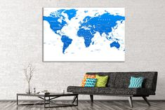 Push pin world map canvas world map poster pinboard push pin world blue world map canvas world map push pin world map pin board push pin travel map push pin map giant world map push pin map world wall decor gumiabroncs Gallery