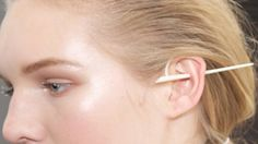 """Pierced thru ear look by A Peace Treaty (APC) for the Jonathan Simkhai NYFW Fall 2016 Show.  Makeup by Erin Parsons, Maybelline.  Photo: Paul Morejón.  More from the """"Frozen Goddess Collection"""" click here - http://www.helenoppenheim.com/ny-fashion-week/fall-2016/?occur=1&slide&album=322&photo=4663"""