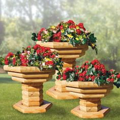 """Landscape Timber Plant Stand DIY Woodcraft Pattern #1825 - Make this in one weekend! It's easy and inexpensive using landscape timber. Precise, full-size plans and simple instructions ensure success. A lasting and beautiful addition to any yard!  28""""H x 24""""W x 24""""D. Pattern by Sherwood Creations #woodworking #woodcrafts #pattern #yardart #crafts #landscape #planter"""