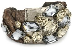 """TED ROSSI """"Urban Warrior"""" Crushed Silk, Leather and D'art Curve Cuff Bracelet Ted Rossi, http://www.amazon.com/dp/B0058H3Q88/ref=cm_sw_r_pi_dp_qtFSqb11SE1NF"""