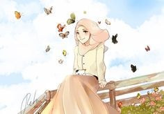 One Fine Day by retma Muslim Couples, Muslim Girls, Hijab Anime, Hijab Drawing, Pencil Drawings Of Girls, Islamic Cartoon, Muslim Women Fashion, Hijab Cartoon, Islamic Girl
