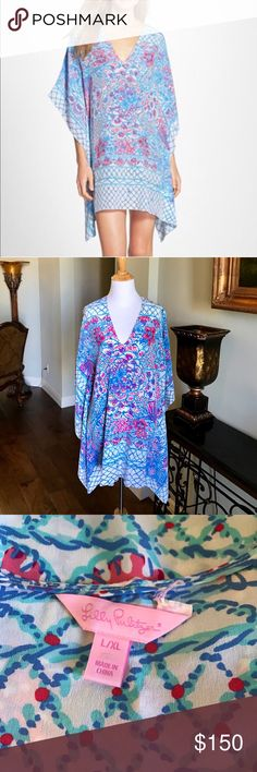 Lilly Pulitzer Lindamarie Silk Caftan This dress is silky and flowy with a frat pink and blue pattern. 100% Silk. The Lilly Pulitzer tag on one size has been off, but dress remains flawless. Lilly Pulitzer Dresses