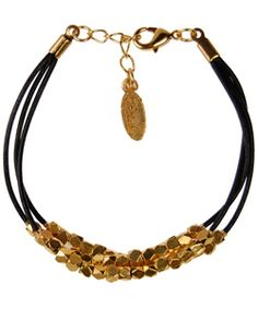 Ettika clustered gold black leather bracelet $75 beautiful  #gold #bracelet #leather #stylish #jewelry #cute #style #date