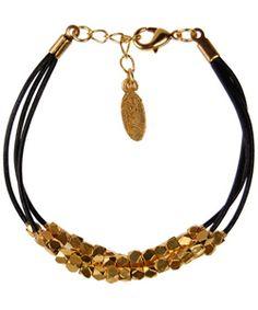 Ettika clustered gold black leather bracelet $75 beautiful  #gold #bracelet #leather #stylish #jewelry #cute #style #date
