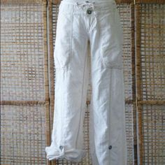 Free People Free People cream colored pants you can wear these also rolled up like capris Free People Pants Capris