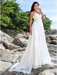 Sheath/Column Chapel Train Wedding Dress - Ivory V-neck Chiffon Plus Sizes – USD $ 159.99