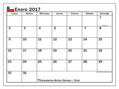 Gratis! Calendarios para enero 2017 para imprimir - Chile
