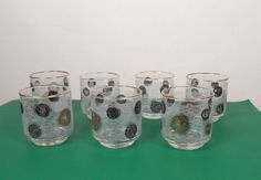 Mid-Century Low Ball Glasses Set  Old Coin by VintageElations
