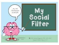 He's here to teach you social skills and this week he's focusing on Social Filters! This packet features multi-modal… Social Skills Autism, Social Skills Lessons, Social Skills Activities, Teaching Social Skills, Social Emotional Learning, Life Skills, Autism Resources, Elementary School Counseling, School Social Work