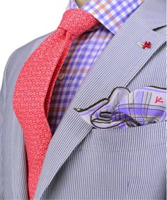 Gingham shirt + striped suit + plaid pocket square + pattern tie = the ultimate look for any man. Because real men wear lavender and coral!