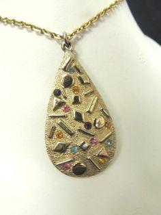 Vintage Rhinestone Gold Necklace Chunky Designer Sarah Coventry Sultana Retro