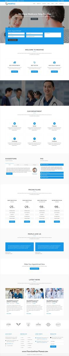 MediFine is a clean and modern design 5in1 responsive #WordPress #template for #healthcare and medical #clinic website to download & live preview click on image or Visit 🡽 #webdev