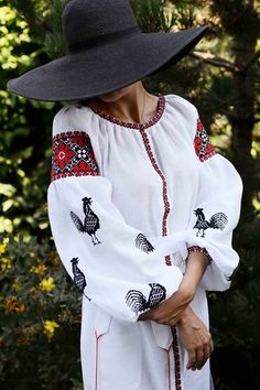 8b26a208885 Contemporary Ukrainian women s style  Embroidered blouse with chicken motifs