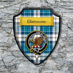 Gladstone or Gladstanes Plaque with Scottish Clan Badge on Clan Tartan Background by YourCustomStuff on Etsy https://www.etsy.com/listing/502973540/gladstone-or-gladstanes-plaque-with