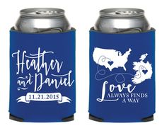 Country to Country Wedding Koozies International by SipHipHooray