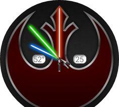 Alliance + lightsaber hands; date + temp + time