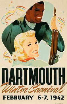 Dartmouth Winter Carnival 1942 Vintage Ski Poster - 1942