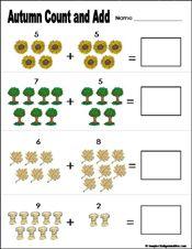fall/autumn Preschool and kindergarten math worksheet