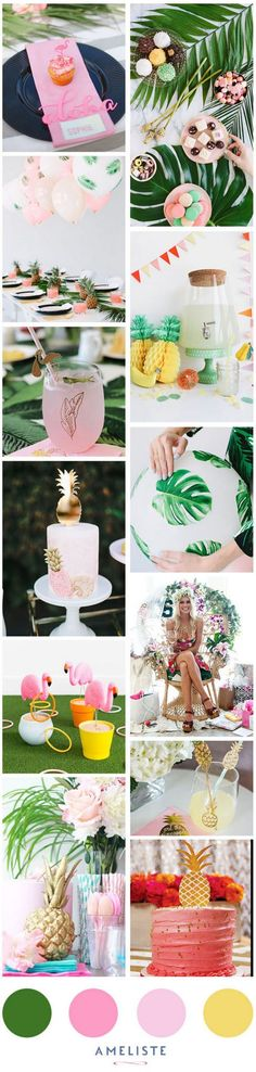 Hawaiian Wedding Ring Mood Board Ameliste Tropical Party // Tropical Baby Shower // - If you're the one doing the planning, you may be wondering about baby shower etiquette. Today's post will give you an overview of how to plan a baby shower Flamingo Party, Décoration Baby Shower, Shower Party, Shower Cake, Baby Shower Etiquette, Organiser Une Baby Shower, Hawaian Party, Aloha Party, Tropical Bridal Showers