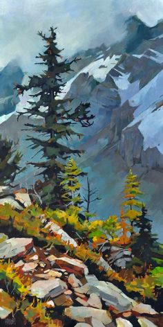 """'Clouded Summit,' 36"""" x 18""""  Acrylic on Canvas  """"I always prefer more direct sunlight when painting a landscape because it helps define the shapes better. However, I wanted to make the most of this cloudy hike and found that the low lying clouds provided  some mystery and a nice background to the saturated colors of rocks and trees."""" -Artist Randy Hayashi"""