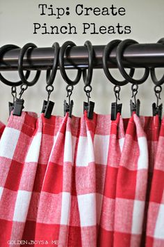 pinch pleats red and white check draperies with drapery clips-www.goldenb…… pinch pleats red and white check draperies with drapery clips-www.goldenb… pinch pleats red and white check draperies with drapery clips-www. Cortinas Country, No Sew Curtains, Tablecloth Curtains, Shower Curtains, Gold Curtains, Double Curtains, Green Curtains, Floral Curtains, Velvet Curtains