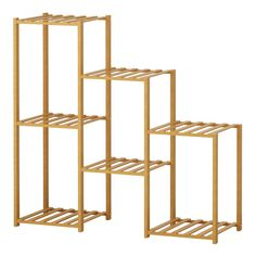Bamboo Plants, Potted Plants, Bamboo Construction, Floor Shelf, Wood Ladder, Wood Plant Stand, Outdoor Flowers, Flower Stands, Display Shelves