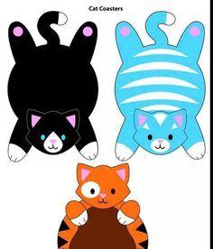 ARTE COM QUIANE - Paps,Moldes,E.V.A,Feltro,Costuras,Fofuchas 3D: Molde gatinho (lindo!) porta copos