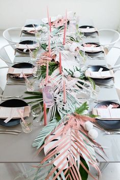 Tropical pastel party decor || Beautiful table scape maybe for a bridal shower