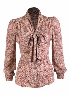 40s Pussy Bow Blouse - Ditsy? Don't you just love a pussy bow blouse? http://www.20thcenturyfoxy.com/en/just-added/40s-pussy-bow-blouse-ditsy