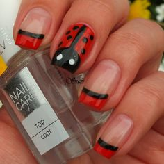 See how nail art pros are making fresh designs with all kinds of nail polish and beauty supplies. Learn how to paint your fingernails with style on a french manicure Get Nails, How To Do Nails, Hair And Nails, Manicure, Pedicure Nails, Nail Polishes, Ladybug Nails, Finger Nail Art, New Nail Designs