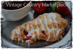 Vintage Country Style Recipes:  Strawberries & Cream Scones