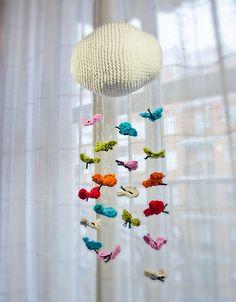 crochet butterfly mobile for new baby Crochet Baby Mobiles, Crochet Garland, Crochet Mobile, Crochet Baby Toys, Crochet Decoration, Crochet Home, Crochet Gifts, Crochet For Kids, Crochet Animals